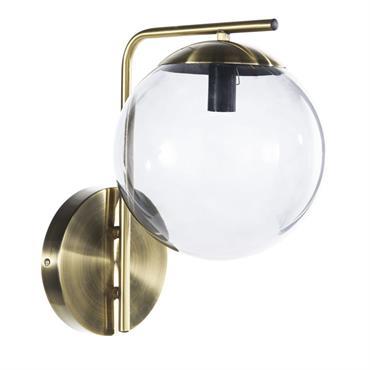 Applique en métal doré mat et globe en verre fumé