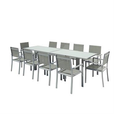 Table de jardin 10 places en aluminium argent