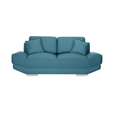 Canapé 2 places toucher lin turquoise