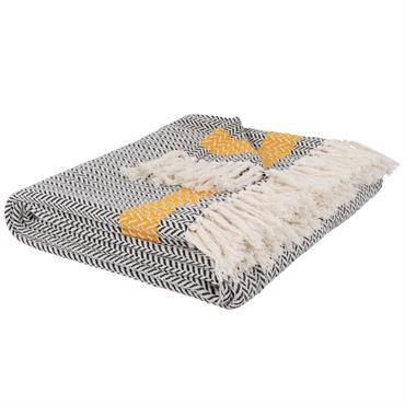 Plaid en coton tricolore motifs graphiques 160x210