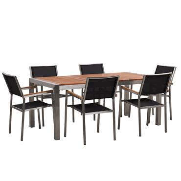 Set de jardin avec table et 6 chaises noires. Cet ensemble de repas de jardin de haute qualité vous apportera l'espace idéal pour apprécier les moments si agréables à l'extérieur ...
