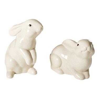 2 statuettes lapins en dolomite écrue effet vieilli