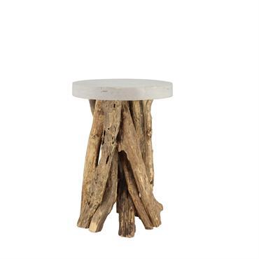Bout de canapé plateau en béton ciré pieds en bois