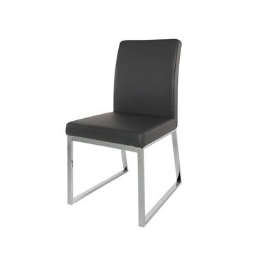 Chaise noire en métal chromé Niero