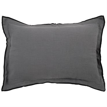 Coussin en lin lavé gris à bordure noire 35x50