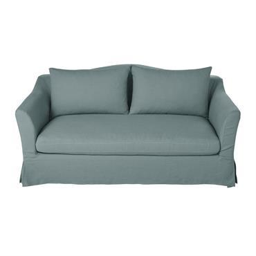 Canapé-lit 2 places en lin bleu céladon Anaelle