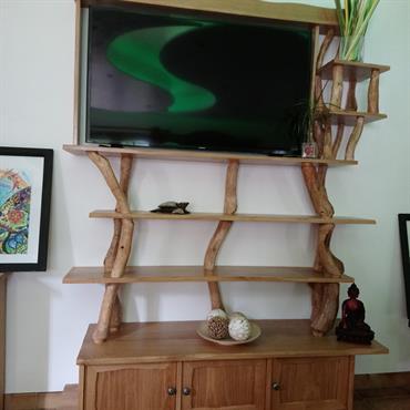 Meuble télé / bibliothèque en chêne massif et rondins de chêne  Domozoom