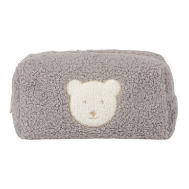Trousse de toilette bouclettes grises et ours blanc