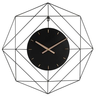 Horloge filaire en métal noir 60x60