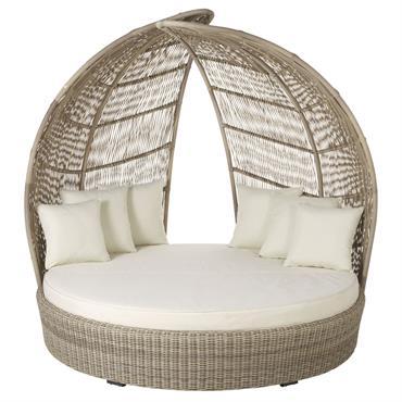 Depuis vos dernières vacances aux Maldives, vous rêviez de retrouver le confort d'un lit d'extérieur enveloppant. Avec le bain de soleil rond 2 places en résine et coussins blancs PARADISIO ...