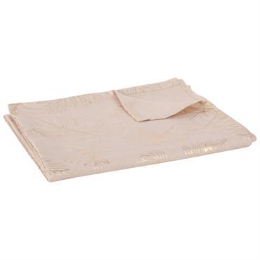 Nappe en coton imprimé feuilles beige 150x250