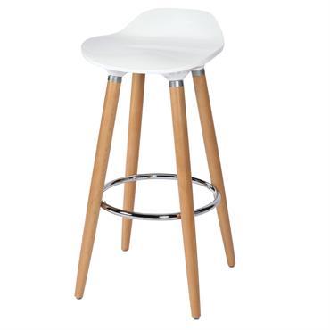 Tabouret de bar 73cm assise en plastique blanc