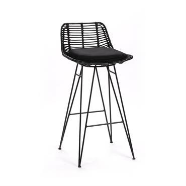 Chaise de bar design en rotin 67cm noir