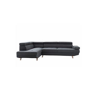 Canapé d'angle gauche Scandinave 4 places en tissu gris foncé