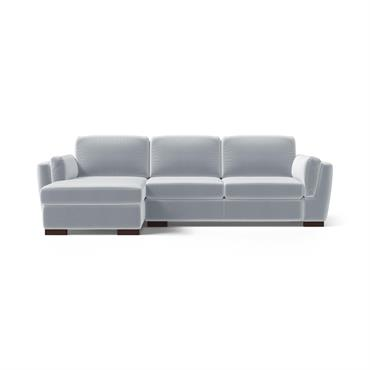 Canapé d'angle gauche 4 places en velours bleu clair