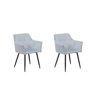 Lot de 2 chaises en velours gris