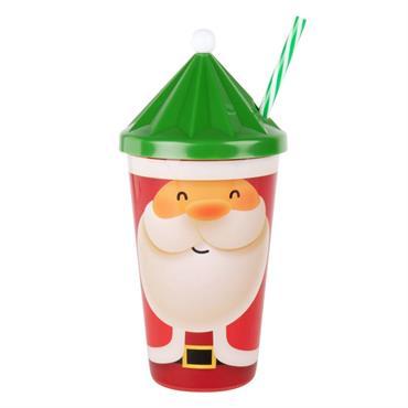 Gobelet Père Noël avec paille en plastique