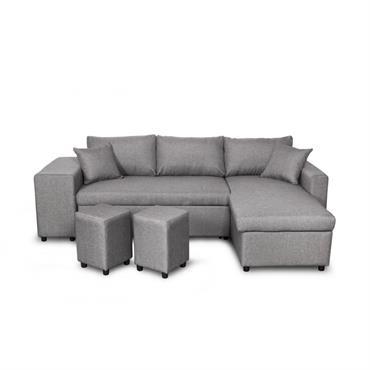 Canapé d'angle convertible gris clair avec rangement poufs à droite
