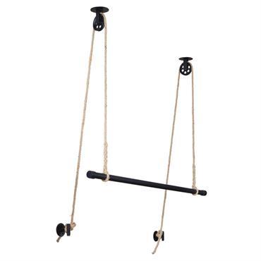 Penderie suspendue avec poulie en corde et métal noir