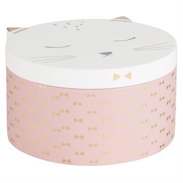 Boîte à bijoux chat rose et blanche