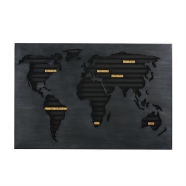 Déco murale porte-bouchons carte du monde en métal noir