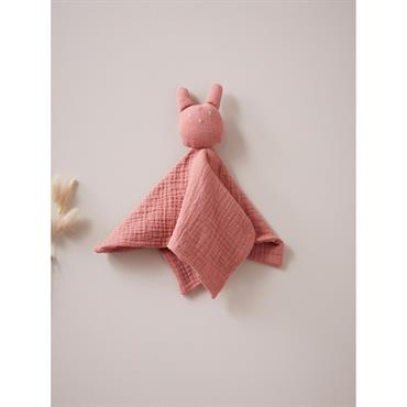 Doudou gaze de coton rose terracotta