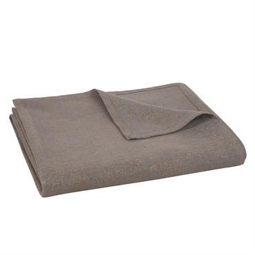 Nappe en coton taupe et lurex doré 150x250