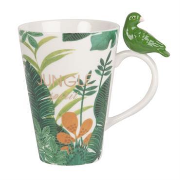Mug perroquet en porcelaine imprimé jungle
