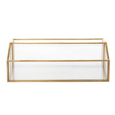 Range courrier en verre strié et métal doré