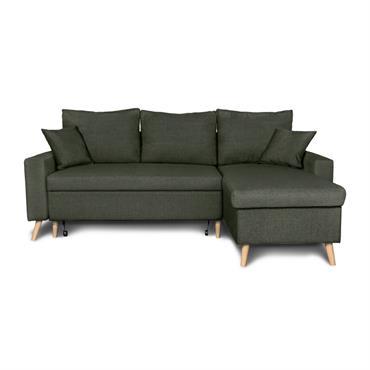 Canapé d'angle scandinave convertible avec coffre en tissu vert foncé