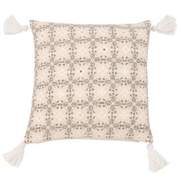 Housse de coussin en coton motifs graphiques 40x40