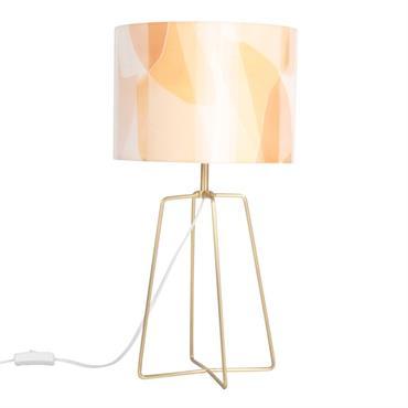 Lampe en métal doré et abat-jour marron