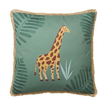 Coussin en coton vert imprimé girafe et jute 40x40