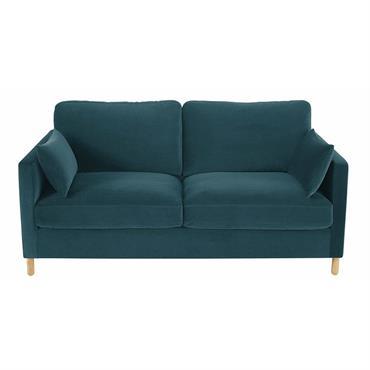 Canapé-lit 3 places en velours bleu paon