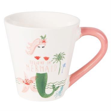 Mug en faïence blanche et rose imprimée