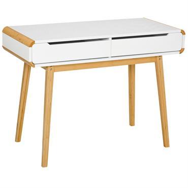 Bureau secrétaire style scandinave 2 tiroirs blanc bois massif bambou