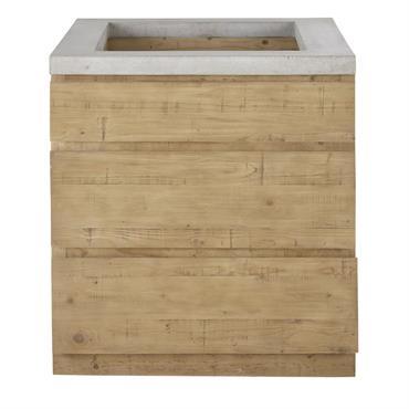 Meuble bas de cuisine 3 tiroirs en épicéa et béton Milos