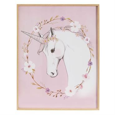 Tableau imprimé licorne rose 47x60cm