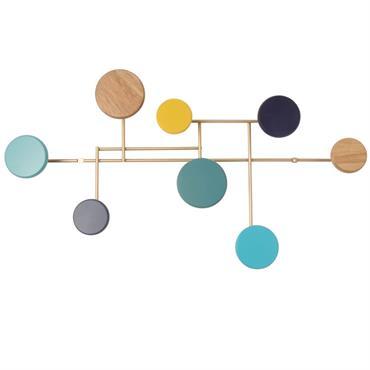 Patère en métal doré 8 crochets multicolores