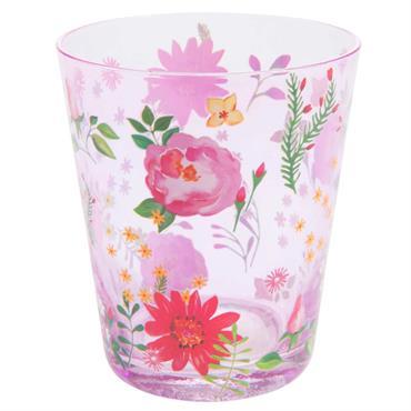 Gobelet en verre teinté rose à motifs FLORAL