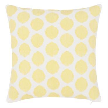 Housse de coussin écrue motifs graphiques jaunes 40x40