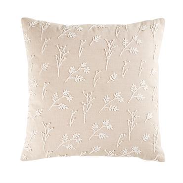 Coussin en coton beige imprimé fleurs 45x45