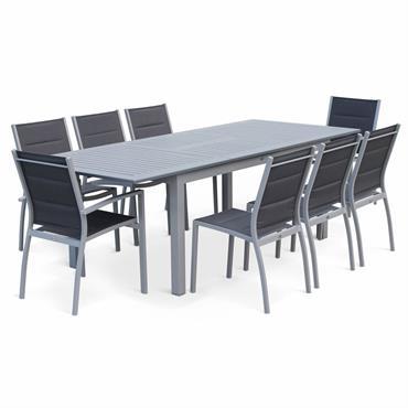 Ensemble table extensible et chaises 8 places anthracite