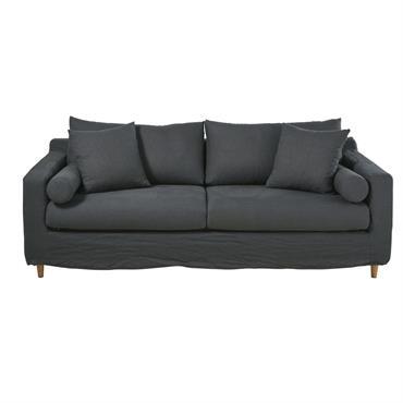 Canapé-lit 3/4 places en lin lavé gris anthracite Francisco