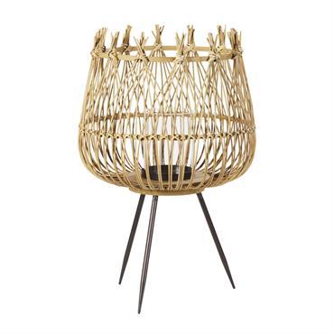Lanterne en bambou tressé et métal noir H63