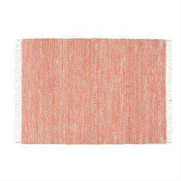 Tapis tressé en jute et coton terracotta 140x200