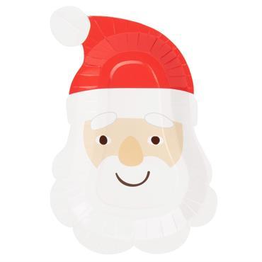 Assiettes Père Noël en carton rouge et blanc