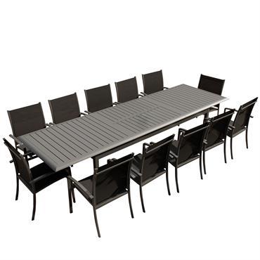 Table de jardin 12 places en aluminium anthracite