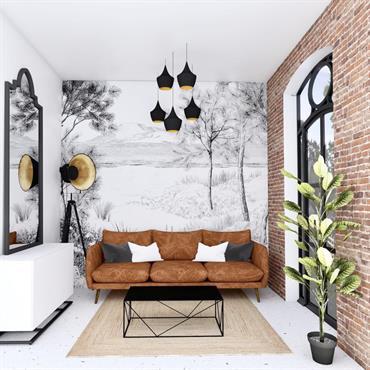 Un choix de mobilier et de revêtements pour une ambiance « indus » et un papier peint panoramique « nature ... Domozoom