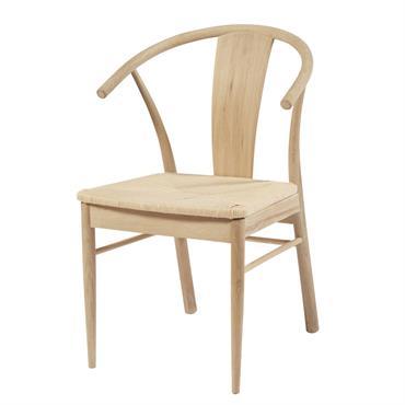 Chaise en corde en papier tressé et chêne massif Hilda